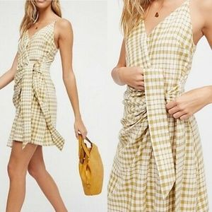 Free People NWT Nodia Green Gingham Warp Dress 135
